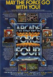 Advert for Arcade Force Four on the Commodore 64.