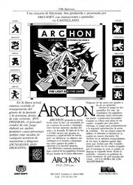 Advert for Archon: The Light and the Dark on the Sinclair ZX Spectrum.