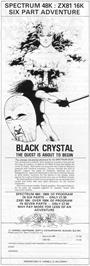 Advert for Black Crystal on the Sinclair ZX Spectrum.