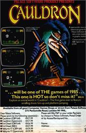 Advert for Cauldron on the Sinclair ZX Spectrum.