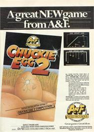 Advert for Chuckie Egg II on the Commodore 64.