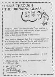 Advert for Denis Through the Drinking Glass on the Sinclair ZX Spectrum.