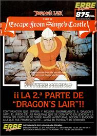 Advert for Dragon's Lair II: Escape from Singe's Castle on the Sinclair ZX Spectrum.