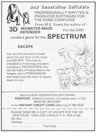 Advert for Escape on the Sinclair ZX Spectrum.