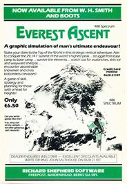Advert for Everest Ascent on the Sinclair ZX Spectrum.