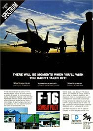Advert for F-16 Combat Pilot on the Sinclair ZX Spectrum.