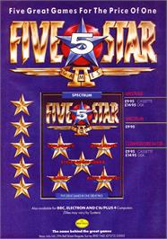 Advert for Five Star Games 2 on the Sinclair ZX Spectrum.