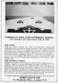 Advert for Formula One on the Sinclair ZX Spectrum.