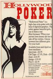 Advert for Hollywood Poker on the Atari ST.