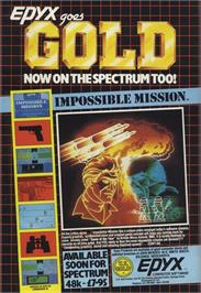 Advert for Impossible Mission on the Sinclair ZX Spectrum.