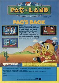 Advert for Pac-Land on the Sinclair ZX Spectrum.