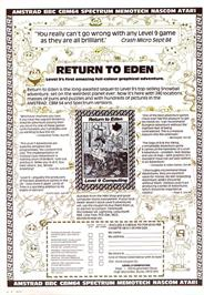 Advert for Return to Eden on the Commodore 64.