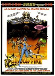 Advert for Shadowfire on the Sinclair ZX Spectrum.