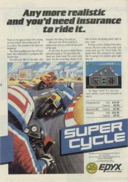 Advert for Super Cycle on the Sinclair ZX Spectrum.