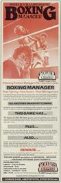 Advert for World Championship Boxing Manager on the Commodore 64.