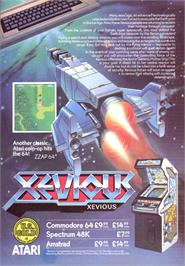 Advert for Xevious on the Sinclair ZX Spectrum.