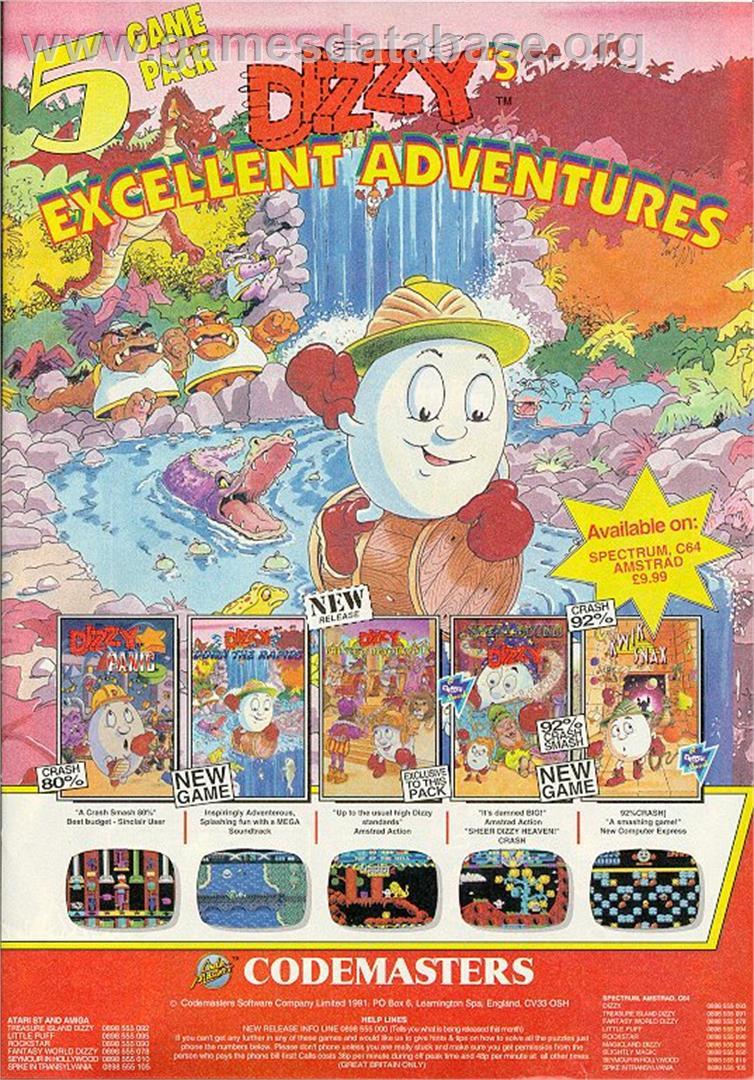 Advert for Dizzy's Excellent Adventures on the Sinclair ZX Spectrum.