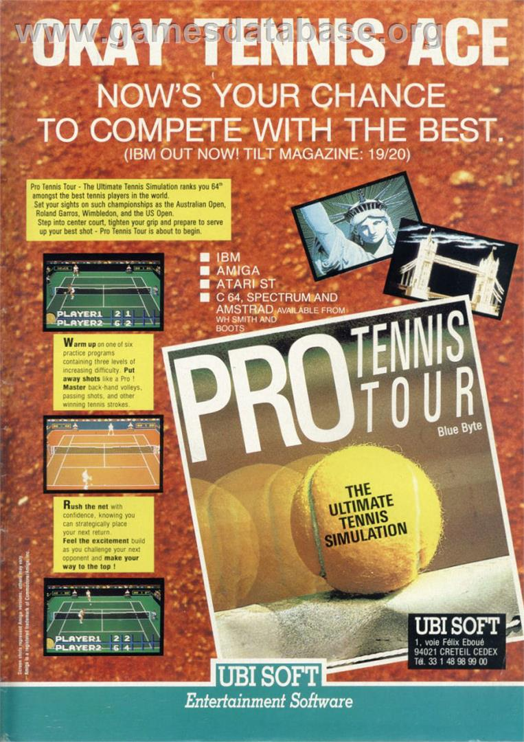 Jimmy Connors Pro Tennis Tour - Commodore 64 - Artwork - Advert