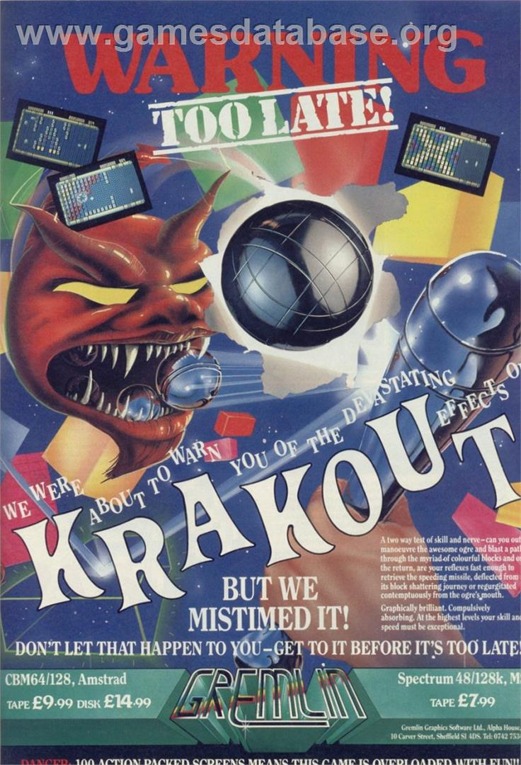 Krakout - Sinclair ZX Spectrum - Artwork - Advert