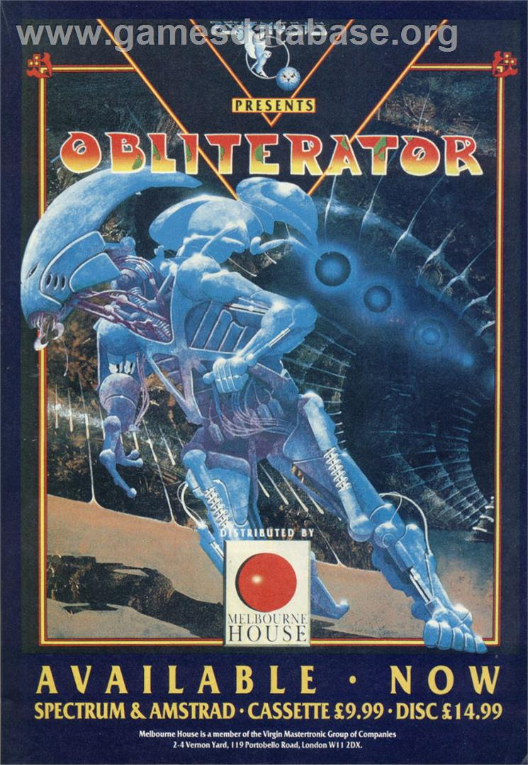 Obliterator - Sinclair ZX Spectrum - Artwork - Advert