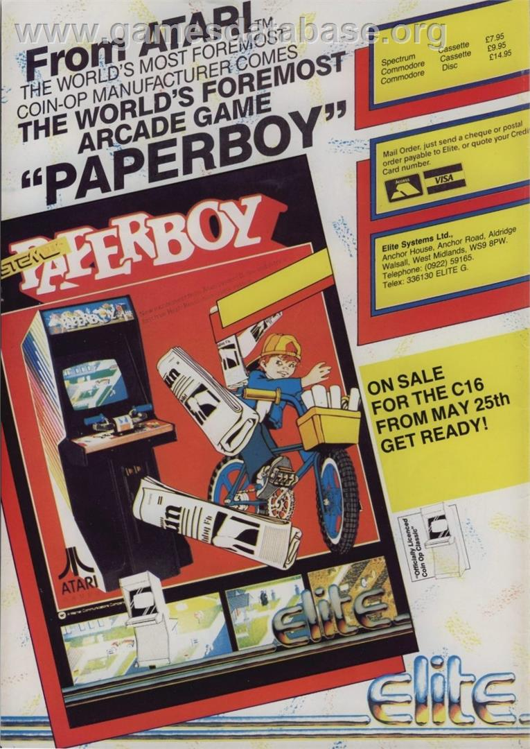 Paperboy - Sinclair ZX Spectrum - Artwork - Advert