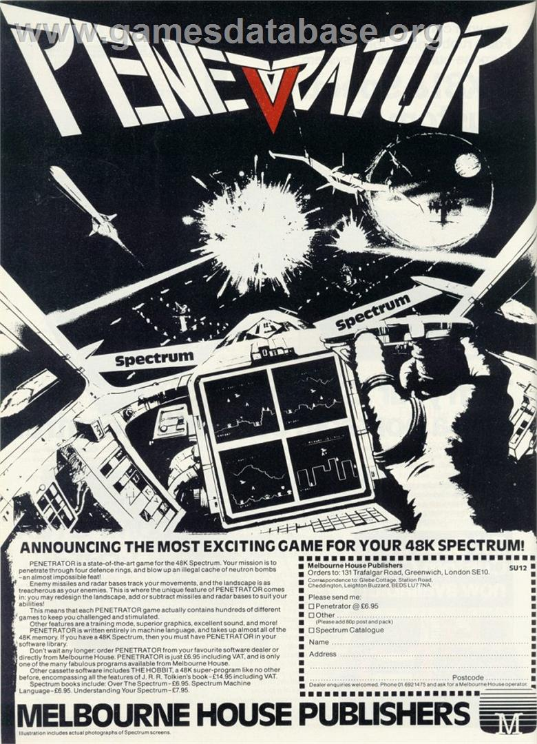 Penetrator - Sinclair ZX Spectrum - Artwork - Advert
