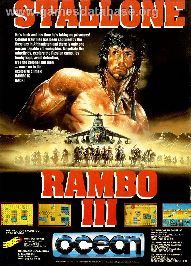 Rambo III - Commodore Amiga - Artwork - Advert
