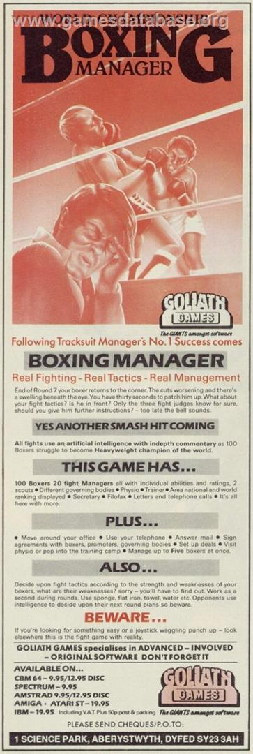 Advert for World Championship Boxing Manager on the Commodore Amiga.