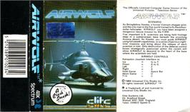 Box cover for Airwolf on the Sinclair ZX Spectrum.