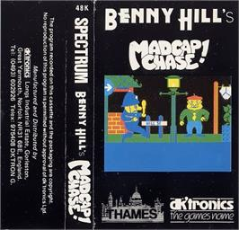 Box cover for Benny Hill's Madcap Chase on the Sinclair ZX Spectrum.