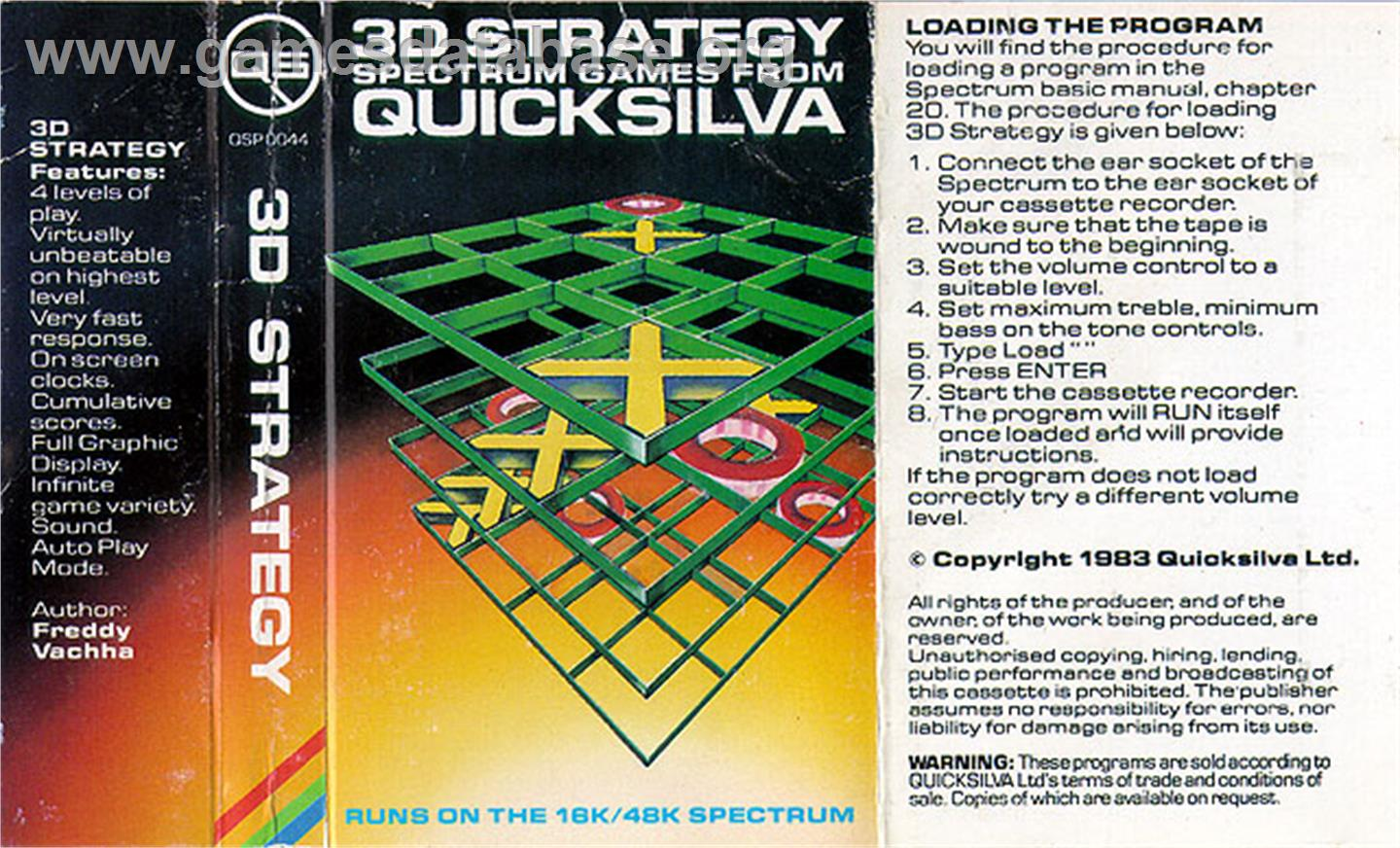 3D Strategy - Sinclair ZX Spectrum - Artwork - Box