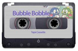 Cartridge artwork for Bubble Bobble on the Sinclair ZX Spectrum.
