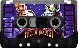Cartridge artwork for Freddy Hardest on the Sinclair ZX Spectrum.