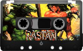 Cartridge artwork for Rastan on the Sinclair ZX Spectrum.