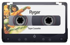 Cartridge artwork for Rygar on the Sinclair ZX Spectrum.