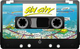 Cartridge artwork for SimCity on the Sinclair ZX Spectrum.