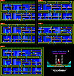 Game map for Tintin on the Moon on the Amstrad CPC.
