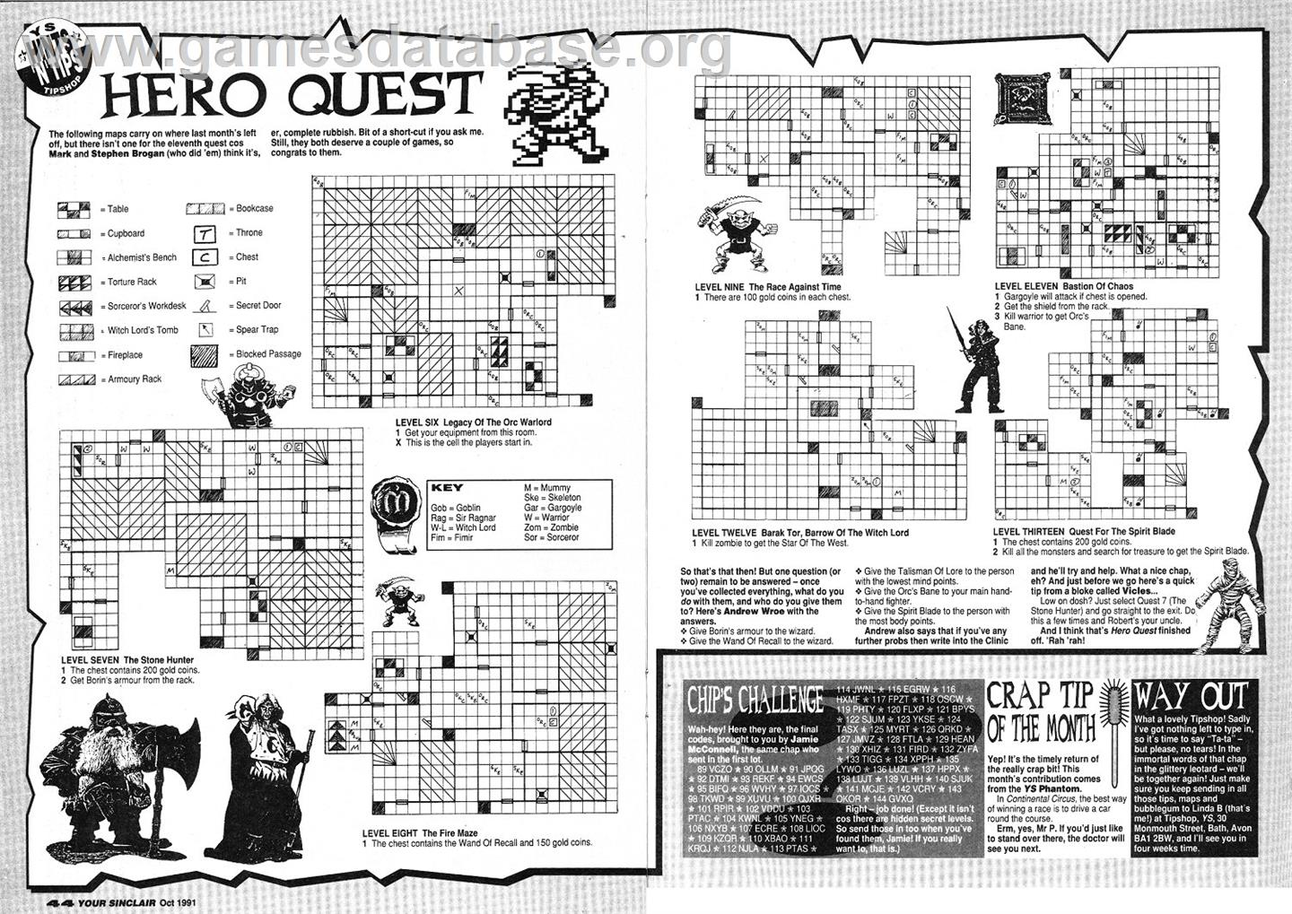 Hero Quest - Commodore Amiga - Artwork - Map
