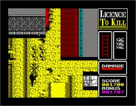 In game image of 007: Licence to Kill on the Sinclair ZX Spectrum.