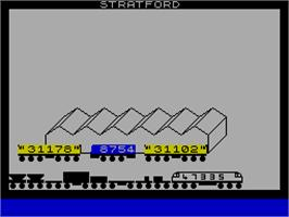 In game image of 1994 Locospotter on the Sinclair ZX Spectrum.