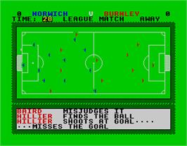 In game image of 1st Division Manager on the Sinclair ZX Spectrum.