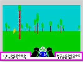 In game image of 3D Deathchase on the Sinclair ZX Spectrum.