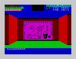 In game image of 3D Monster Chase on the Sinclair ZX Spectrum.