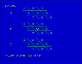 In game image of 3D Noughts and Crosses on the Sinclair ZX Spectrum.