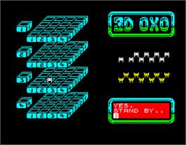 In game image of 3D OXXO on the Sinclair ZX Spectrum.