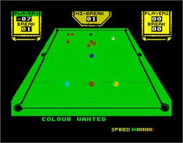 In game image of 3D Snooker on the Sinclair ZX Spectrum.