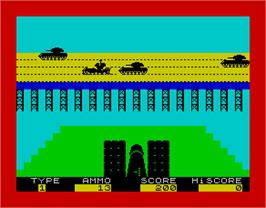 In game image of 3D Tanx on the Sinclair ZX Spectrum.