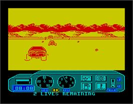 In game image of 4x4 Off-Road Racing on the Sinclair ZX Spectrum.