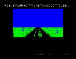 In game image of 750cc Grand Prix on the Sinclair ZX Spectrum.