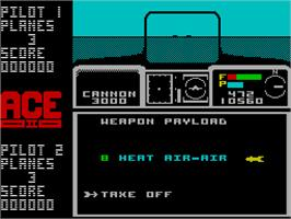 In game image of ACE 2: The Ultimate Head to Head Conflict on the Sinclair ZX Spectrum.